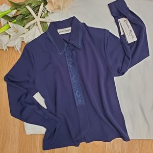 Claudia Richards Vintage Silky Embroidered Blouse